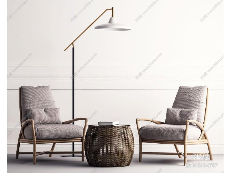 现代沙发 茶几 落地灯