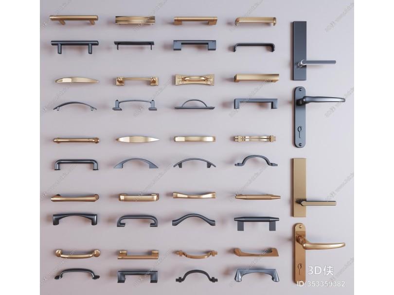 现代金属门把手 门拉手五金件组合