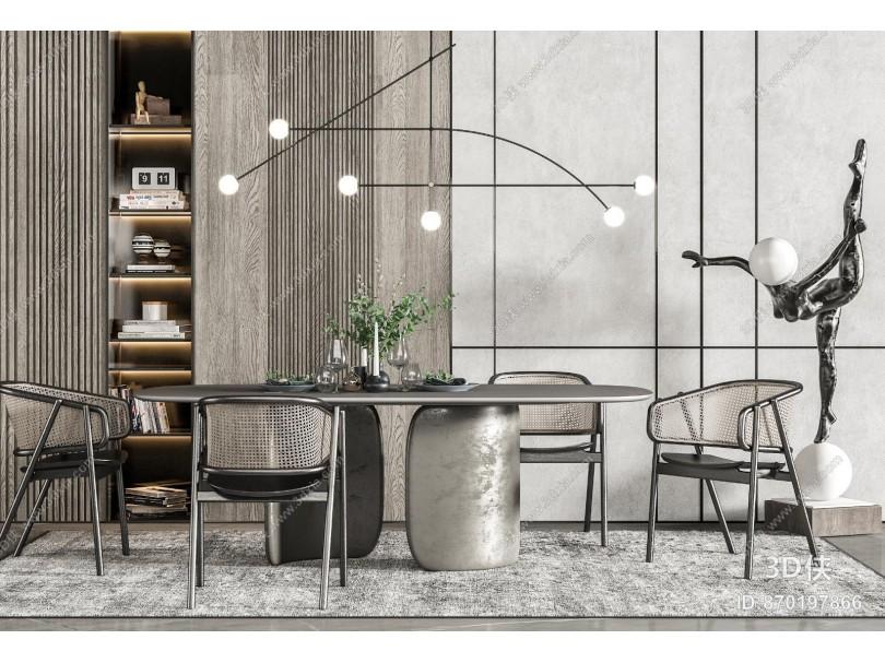 现代餐桌椅 吊灯 雕塑
