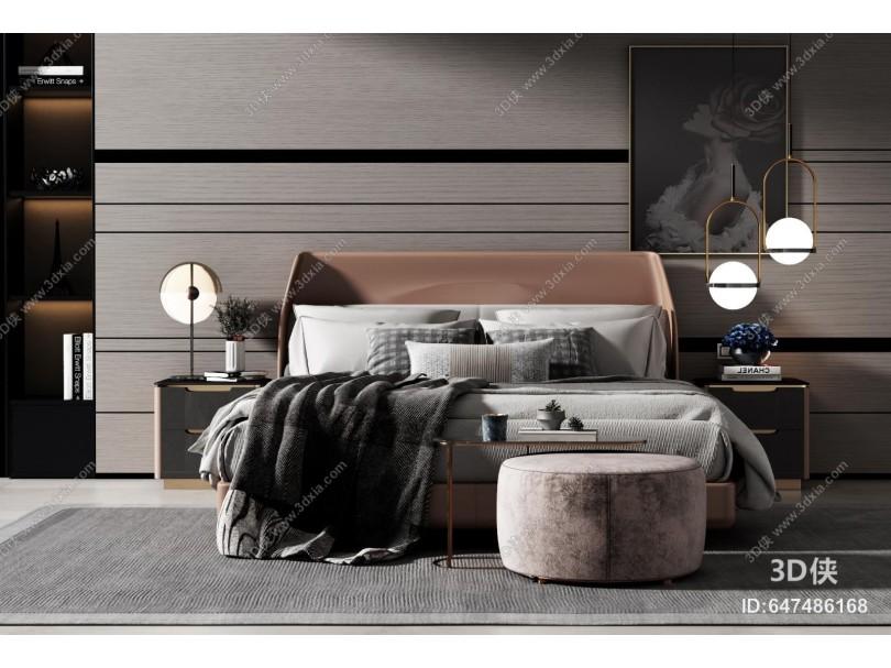 現代雙人床組合 床頭柜 床