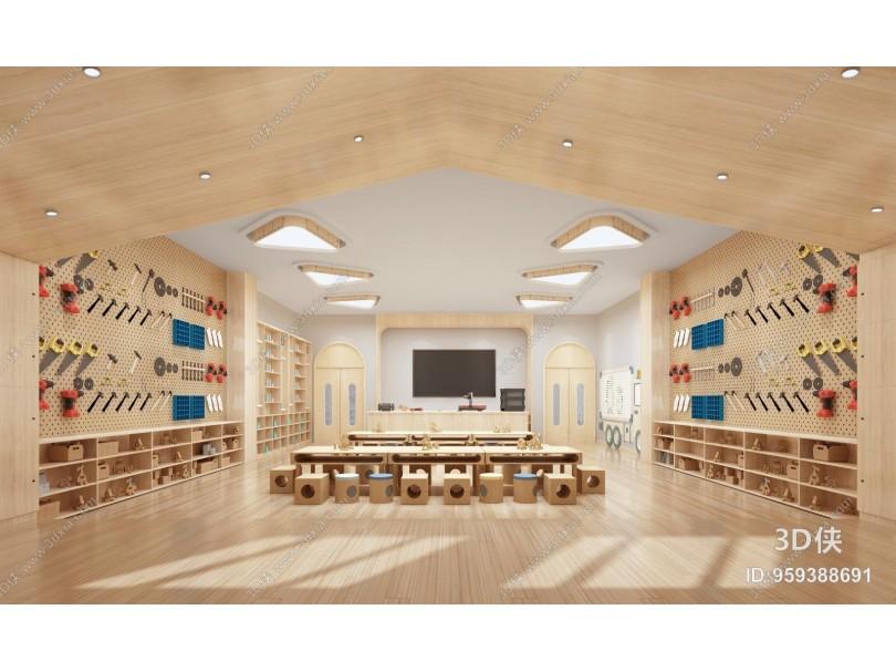 现代幼师工艺品培训教室 工程工具 手工木雕刻工艺品