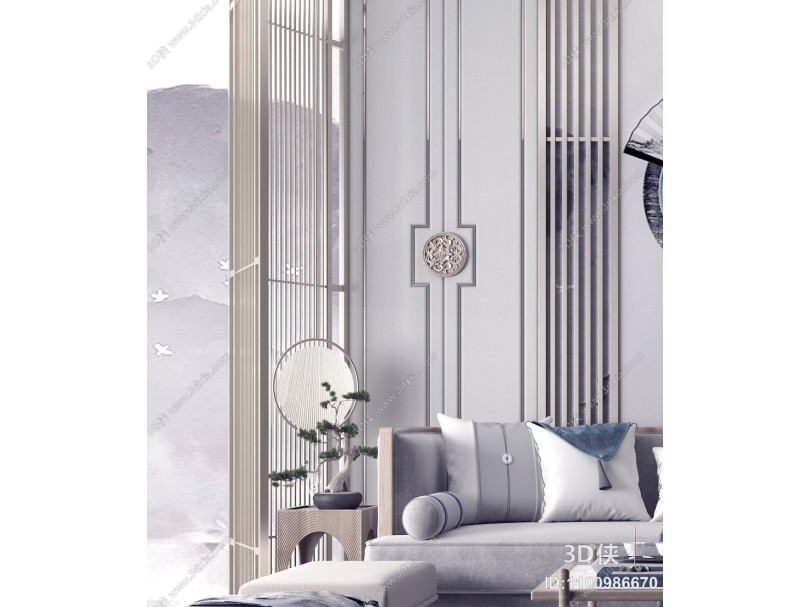 新中式客厅 沙发茶几组合