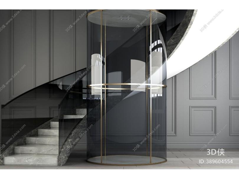 现代大理石旋转楼梯 扶手