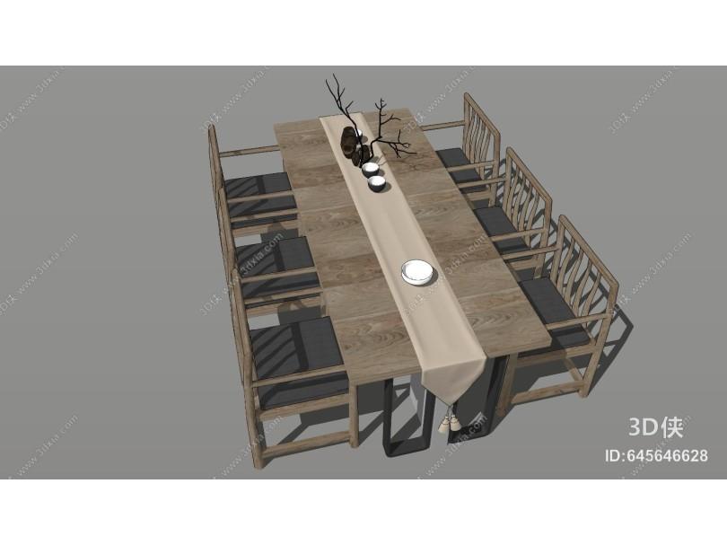 新中式禅意餐桌椅组合