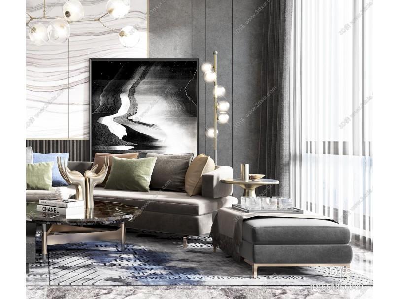 現代高級灰客廳 沙發 休閑椅子