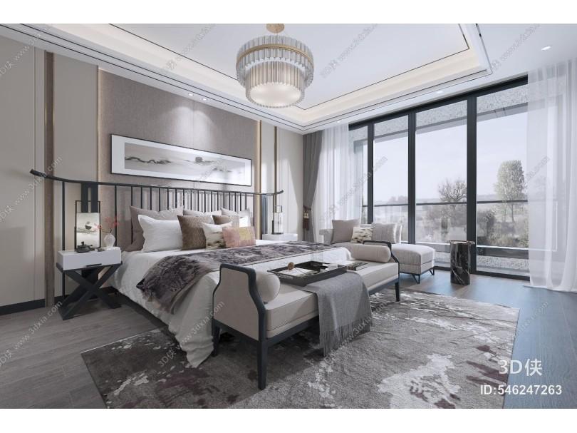 新中式卧室 吊灯 台灯 装饰画 地毯