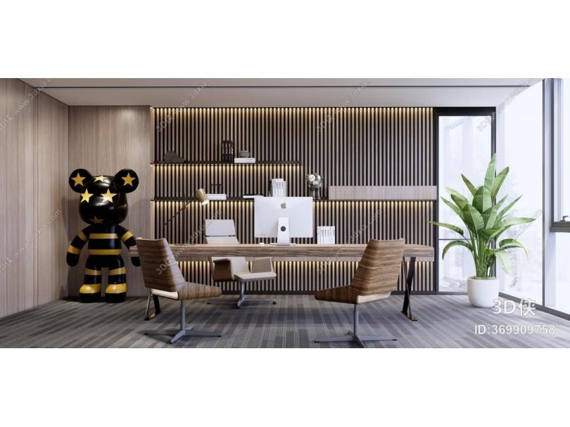 现代风格别墅书房 书桌 kaws玩偶