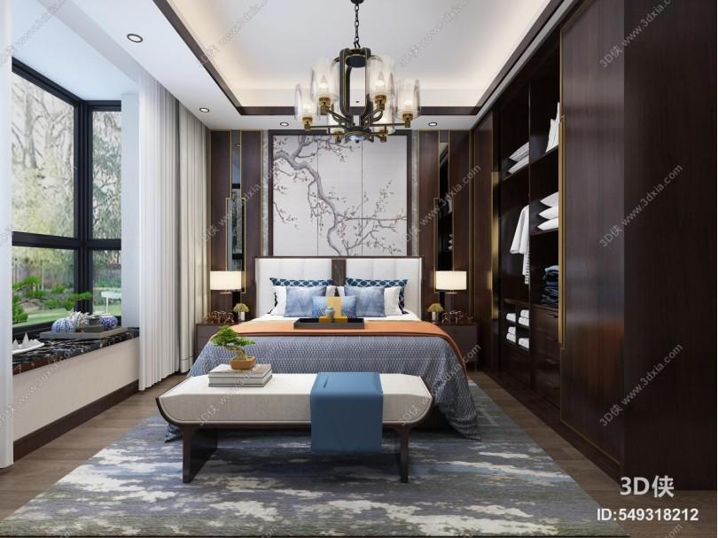 新中式臥室 主人房 吊燈 壁畫
