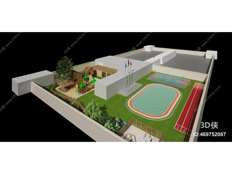 现代鸟瞰 幼儿园 操场