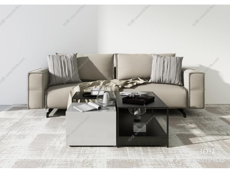 现代沙发茶几组合 装饰品