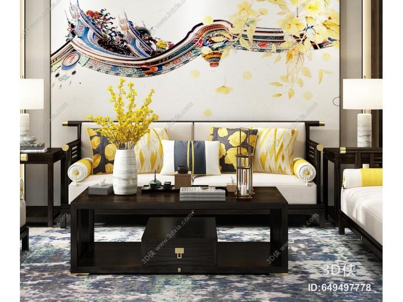 新中式实木沙发茶几组合