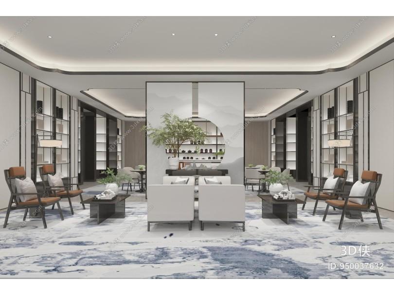 新中式售楼处接待区 沙发 茶几