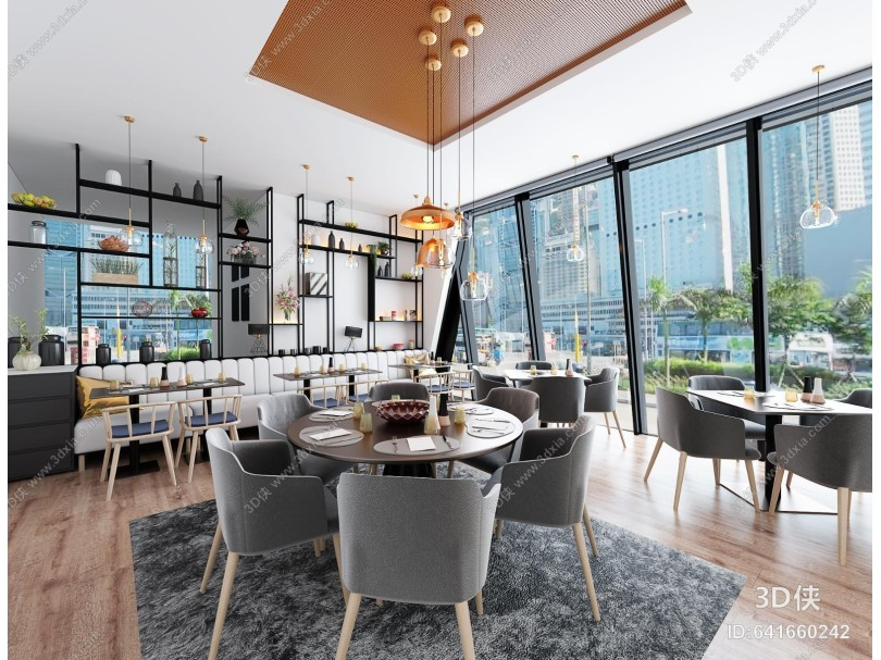 现代简约餐厅咖啡馆 卡座吊灯
