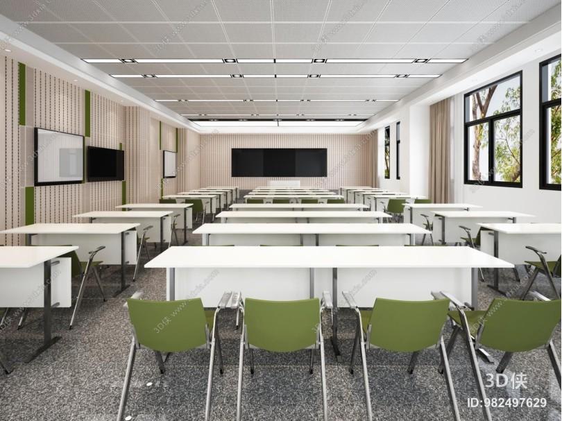 现代教室 电子显示屏 桌椅