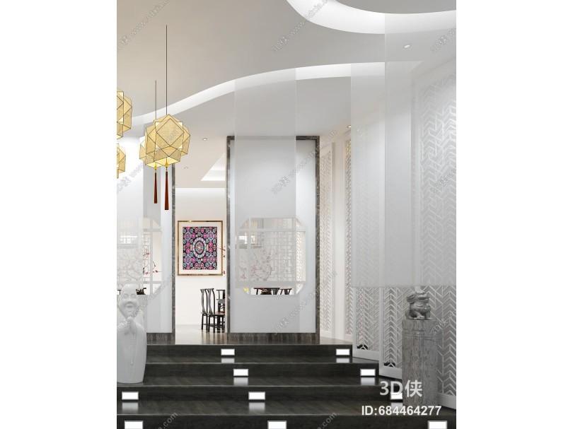 新中式风格餐厅 餐桌 雕塑