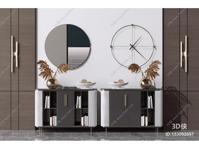 现代轻奢餐边柜组合 玄关端景柜 书籍 摆件