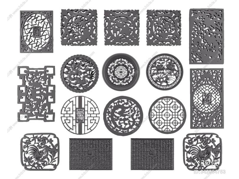 中式窗花雕花组合
