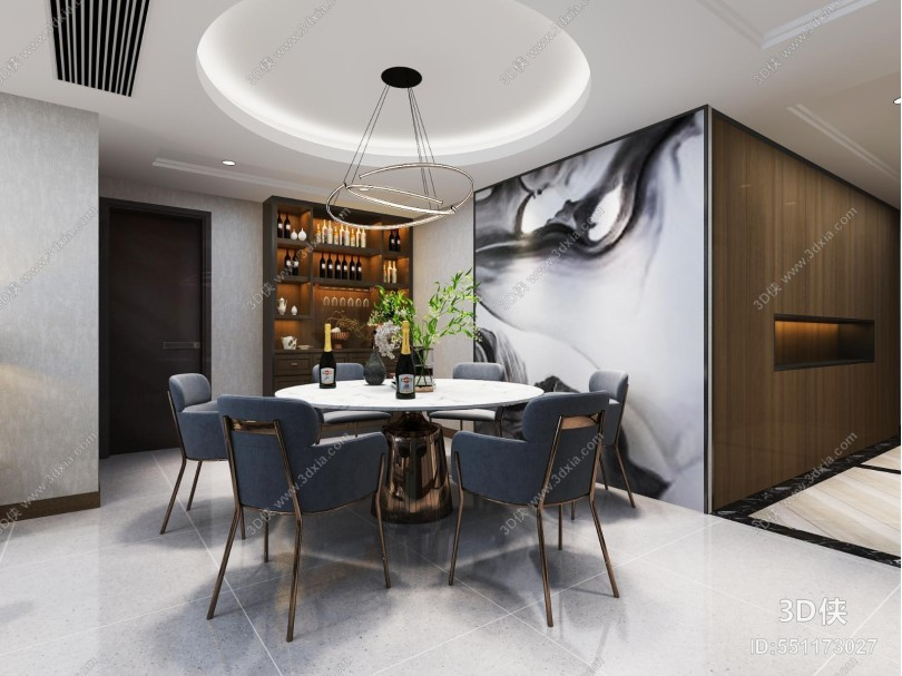 現代客廳 餐廳 吊燈 掛畫