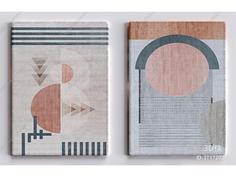 现代轻奢几何地毯 方毯 块毯