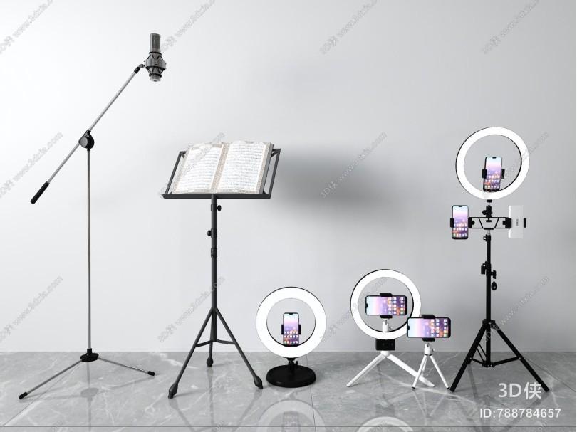 现代手机直播架 话筒 补光灯