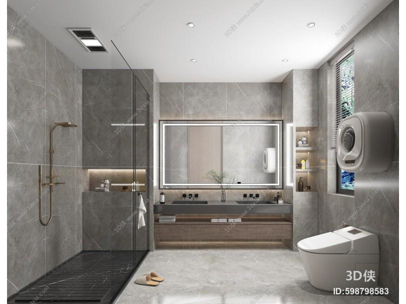 现代卫生间 镜子 浴室柜