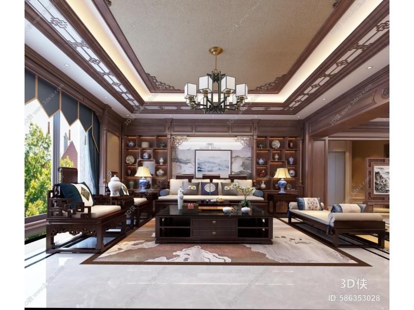 中式客厅 茶室 吊灯 沙发 茶桌 电视柜