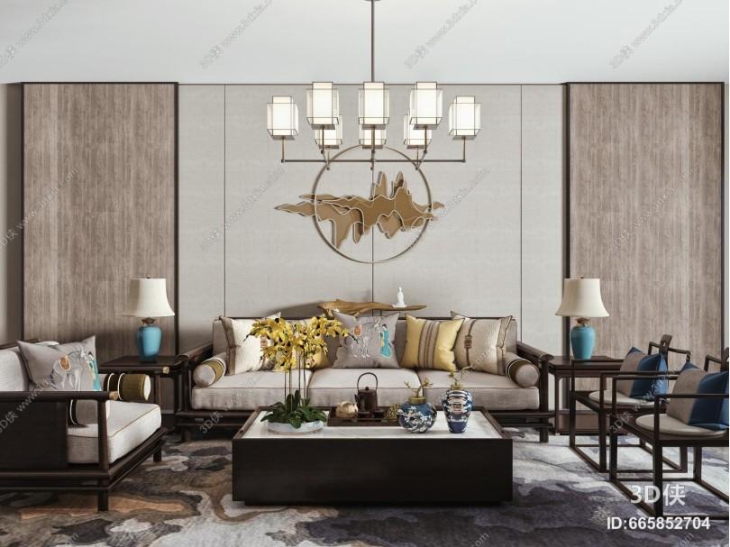 新中式沙发茶几组合 吊灯 单人椅