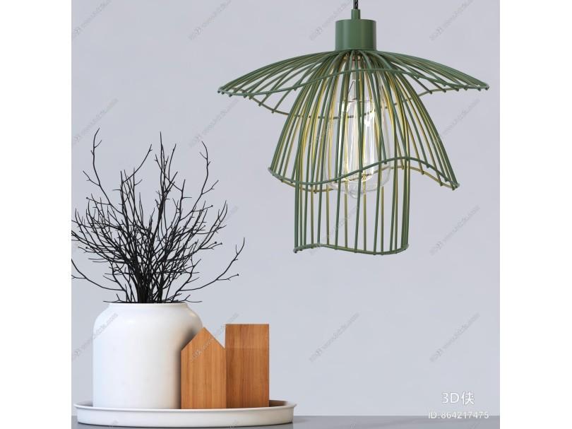 北欧灯具 创意金属丝吊灯 台灯