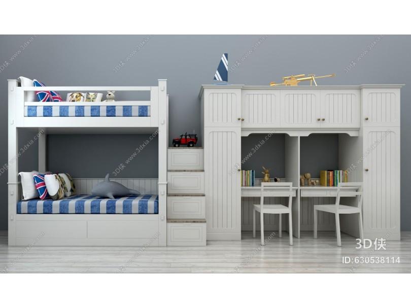 现代儿童上下床上下铺宿舍床组合