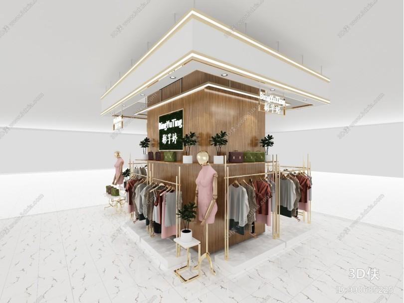 现代商场服装中岛