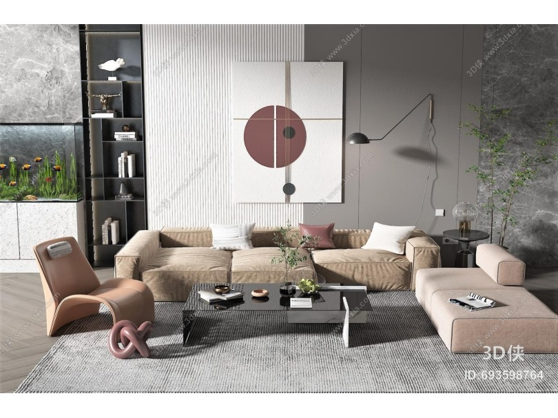 现代沙发茶几组合 墙饰 壁灯