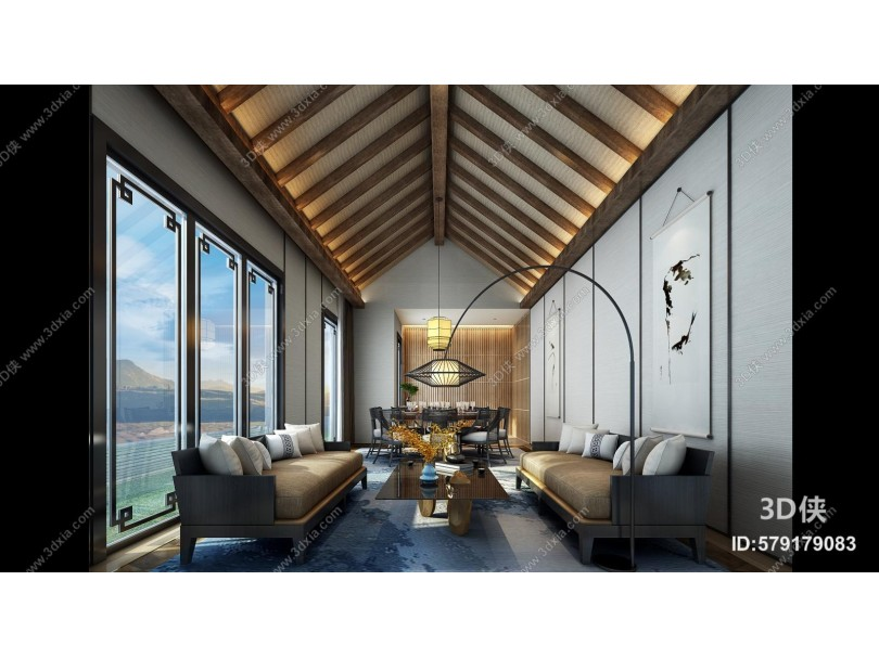 现代海景房 客餐厅 木吊顶