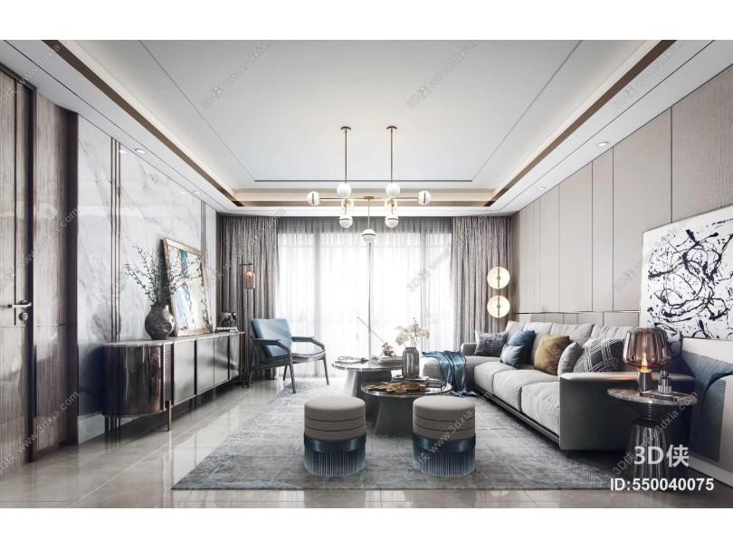 现代轻奢客厅 转角沙发茶几组合 休闲单人椅子