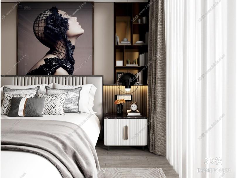 現代臥室 床 床頭柜