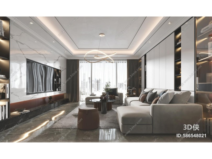 现代客厅 沙发 吊灯