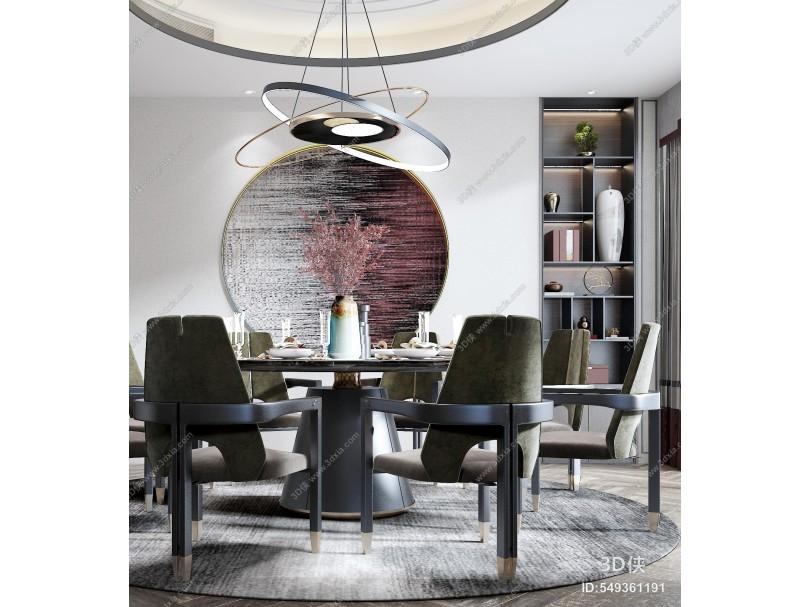 新中式餐廳 餐椅 圓桌 吊燈 端景臺 酒柜