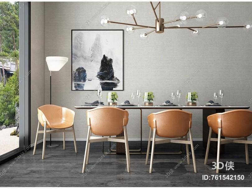 新中式餐椅 餐桌椅组合 吊灯