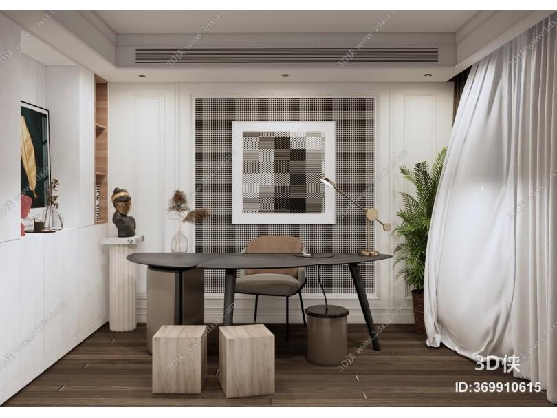 现代风格家居书房 书桌 雕塑摆件