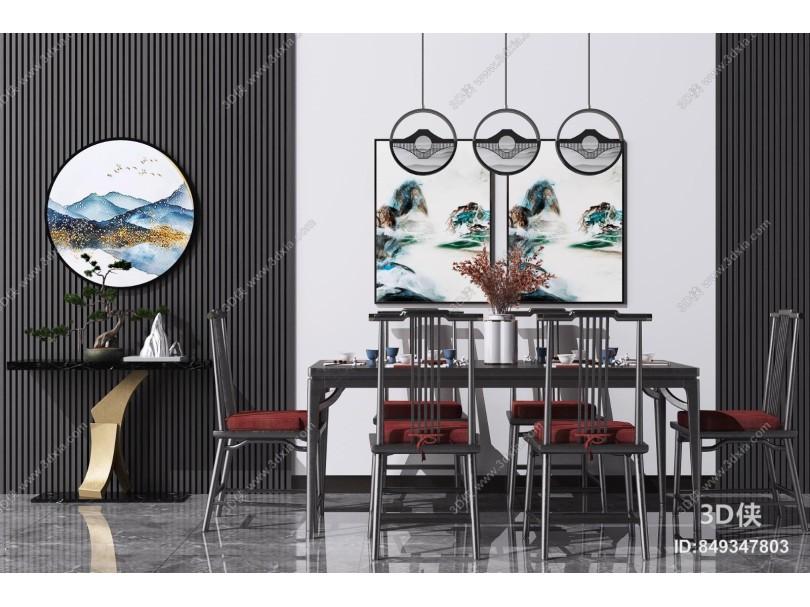 新中式實木餐桌椅 花瓶組合 吊燈 端景臺