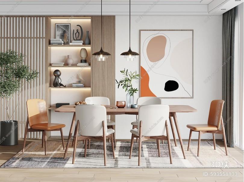 现代餐厅 餐椅 酒柜