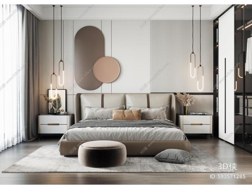 现代卧室 双人床 床头柜衣柜