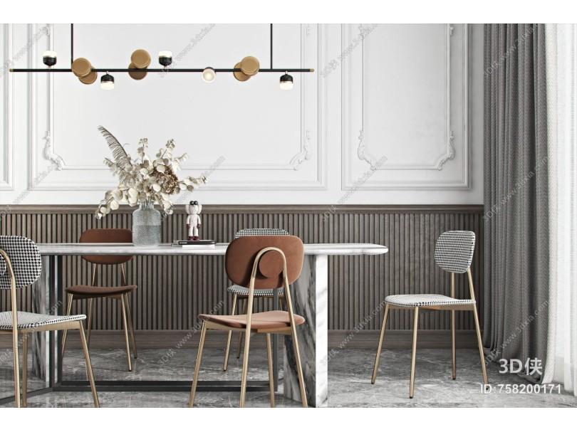 现代餐桌椅组合 吊灯 花瓶