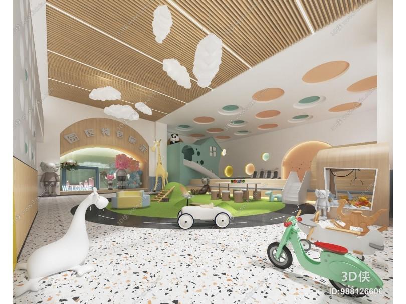 现代幼儿园 玩耍区 游乐场