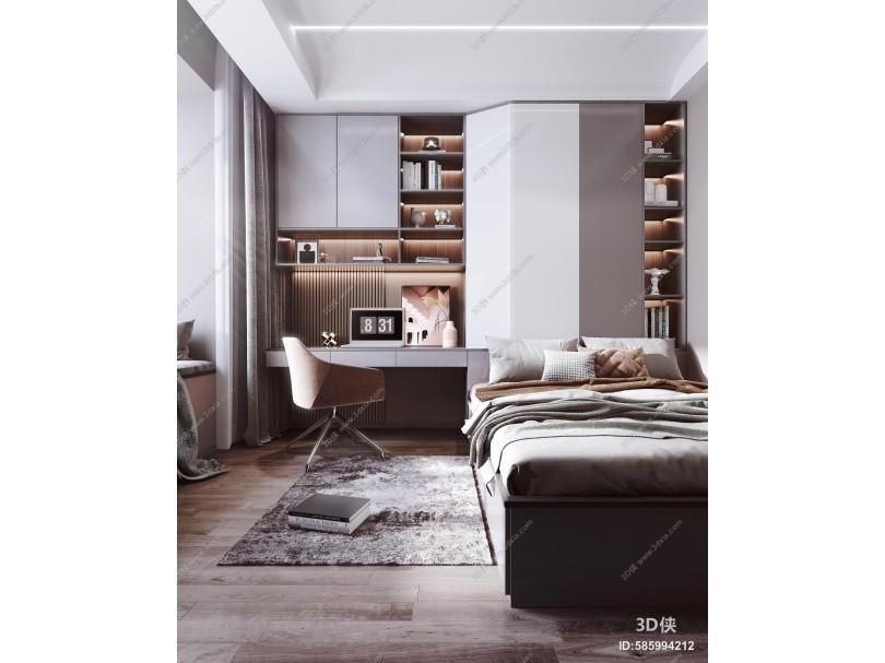 现代榻榻米卧室 床 书桌