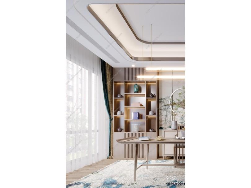 新中式书房 书桌 椅子 茶壶 吊灯 挂画 装饰品 书本组合 植物盆栽