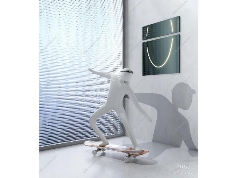 现代人物滑板车创意雕塑