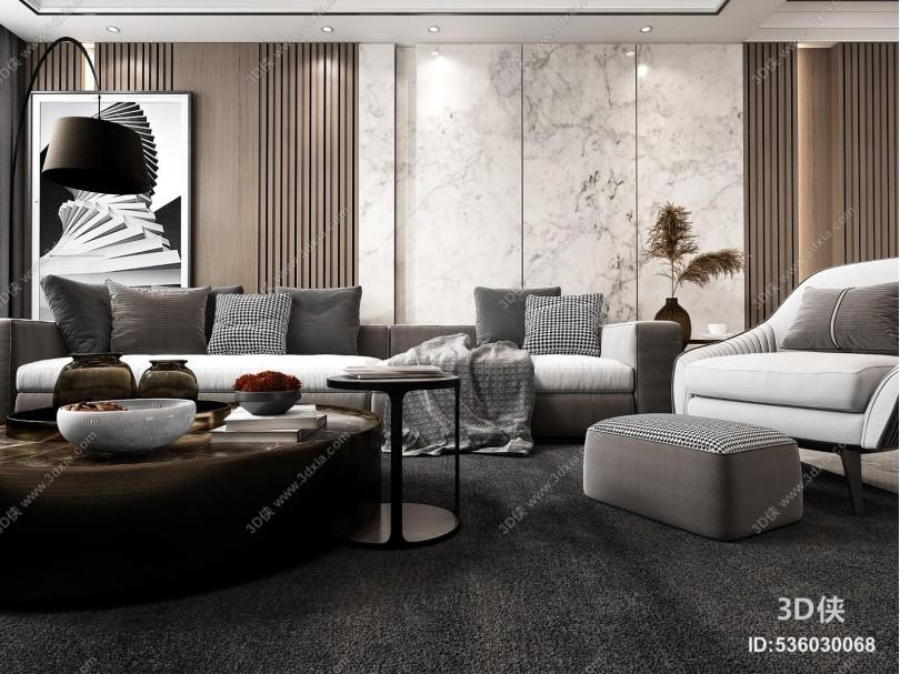 现代轻奢客厅3D模型