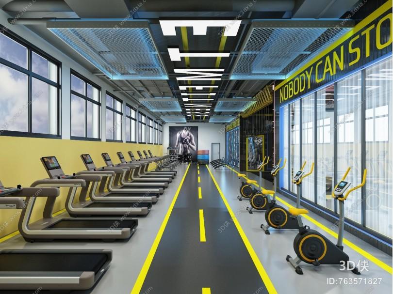 工业风健身房 前台 器械区