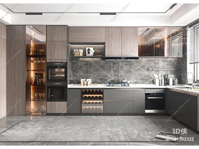 现代厨房 橱柜 消毒柜 炉灶 水槽
