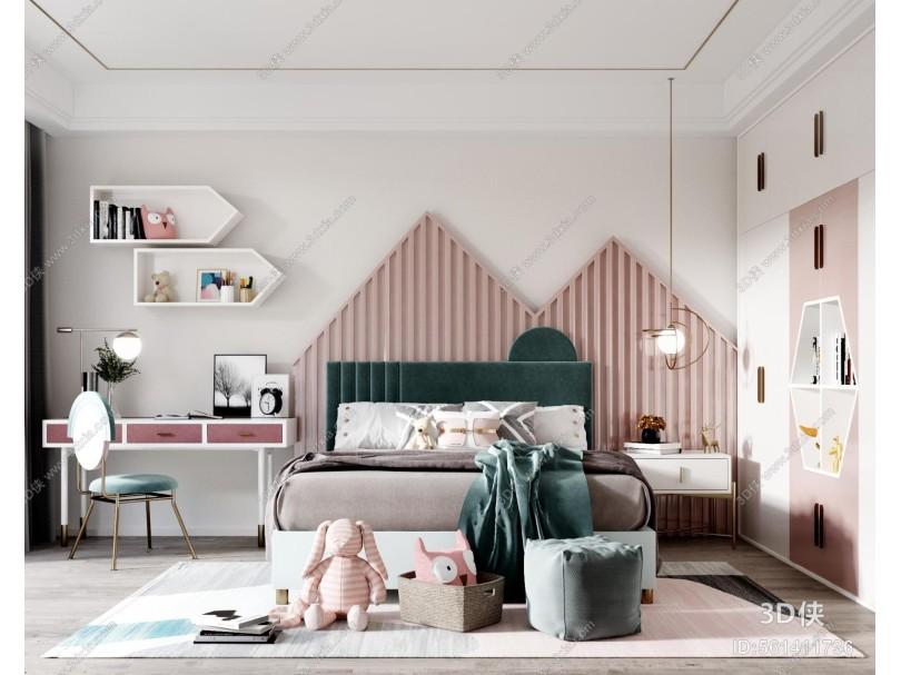 现代儿童房 双人床